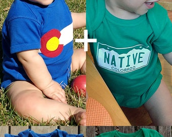 Colorado Baby Shower Bundle - CO Flag Onesie + CO NATIVE Onesie = You Save 18%! Customize them for the perfect Colorado Baby Shower gift!