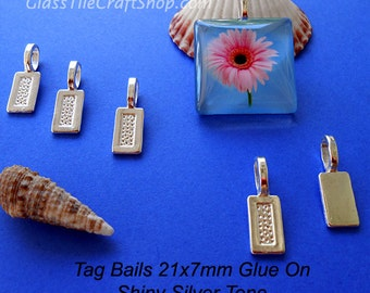 50 Pack Silver Tag Bails - 21x7mm Shiny Silver Color Glue on Bails for Pendants. (21X7TAGS)
