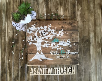 Personalized wedding/anniversary sign with tree, rustic wood sign, handpainted wood sign, wedding sign, anniversary sign, wooden signs