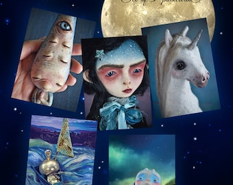 Night -Set of 5 Postcards- night postcards art doll unicorn dreaming dreams dream fantasy creatures postcards whimsical lady night star dust