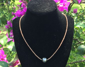 Bronze Tahitian Pearl & Cinnamon Zircon Beaded Necklace