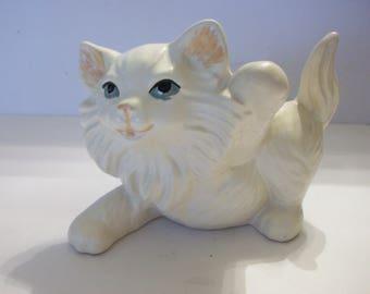White Cat Ceramic Figurine, Cats, Cat Figurines, Ceramic Cats, White Cats