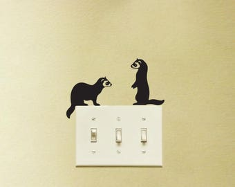 Two Ferrets Vinyl Decal Stickers Light Switch Kids Nursery Room Decor