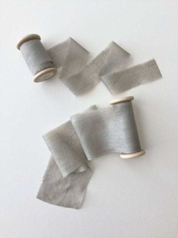 DOVE GRAY Plant Dyed Silk Ribbon