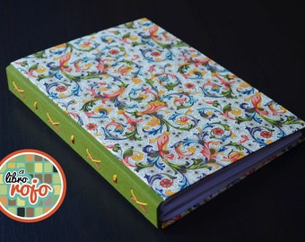 Elegant handmade journal with threadeye stitch with boards covered in authentic florentine paper