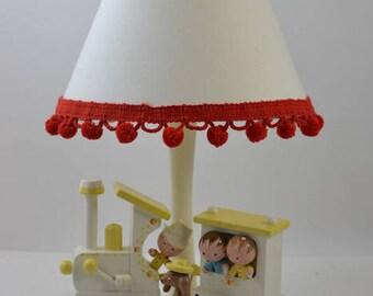 Vintage Irmi Nursery Originals nursery lamp 1960 Mid century Baby with shade/nursery decor