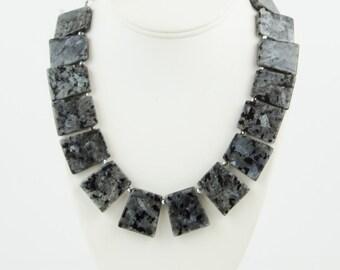 Silver Necklace, Silver Bib Necklace, Silver Statement Necklace, Chunky Necklace, Modern Necklace