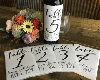 Wedding Table Numbers Label - Wedding Labels - Wine Bottle Table Numbers -Wedding Table Decor  - Wine Bottle Labels - Custom Labels