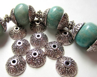30 Bead caps Tibetan silver metal 10mm  Diy jewelry  supplies
