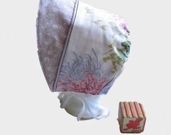 Adorable Lavender Baby Bonnet for Toddler,  Sun Bonnet, Baby Sun Hat, Handmade Cotton Bonnet,  12 mos Bon49