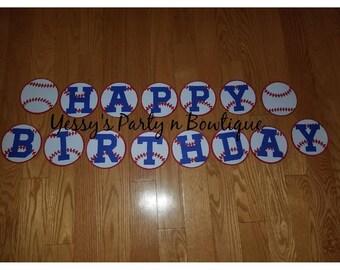 Baseball Themed Happy Birthday Banner