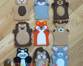 Woodland Puppet Sets *For purchase as a SET or INDIVIDUALLY* Adult hand, Child hand, or Finger Puppet