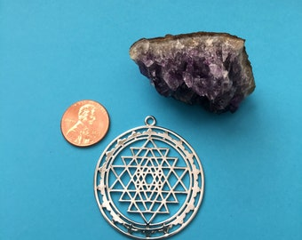 Silver Tone Plated Hollow Sri Yantra Pendant-Charms, Copper Meditation  Mystical Charm