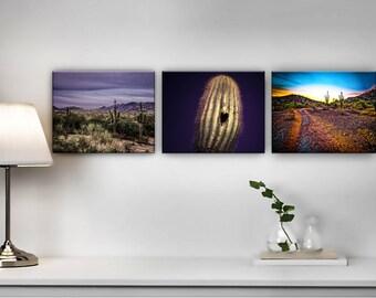 Lot de 3 gravures Wall Art--sud-ouest Decor--Desert paysage tirages--Cactus Wall Art--désert Wall Art--Boho Decor--Style Boho