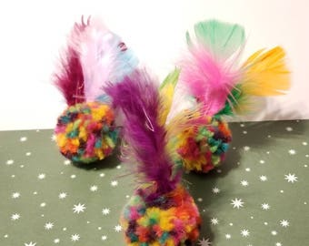 Feather Cat Toys, Feather Puff Balls, Unique Cat Toys, Fun Cat Toys, Catnip Balls, Kitten Toys, Ball Cat Toys, Bell Cat Toys