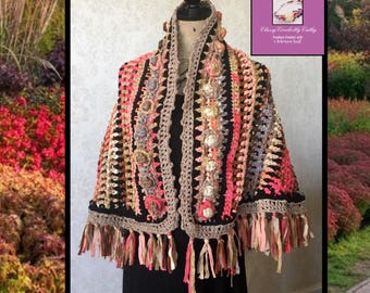 Festival Shawl, Knit Shawl, Boho Wrap, Crochet Shawl, Knit Shawl, Boho Shawl, Freeform Crochet, Handmade Shawl, Wearable Art, Crochet Poncho