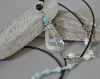 Clear Quartz Nugget and Amazonite Leather Cord Boho Necklace, Bohemian Style, Long Necklace. Pendant Necklace, Leather Corded Jewelry