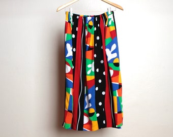vintage FLORAL keith haring style 90s bright maxi SKIRT red long vintage skirt