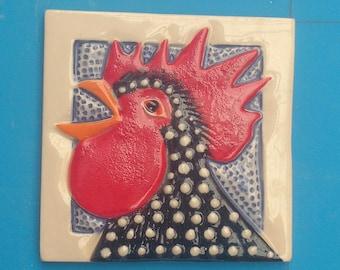 """Rooster Crowing, Hand made Tile, 4"""", handmade, porcelain, Bathroom, Back splash, Kitchen, Display"""