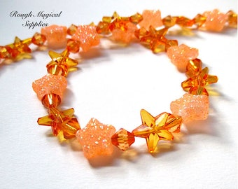 Orange Star Beads, 10mm Glitter Stars, 6mm Bicones Acrylic Faux Crystal, Halloween Jewelry Making, DIY Crafts, Celestial Theme 40 Pieces 781