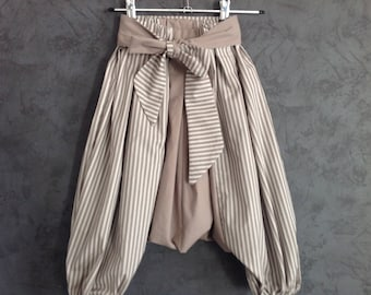 harem pants children taupe and striped light taupe