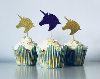 Unicorn Head Cupcake Toppers // Glitter Cake Toppers // Party Decorations // Cake Decorations