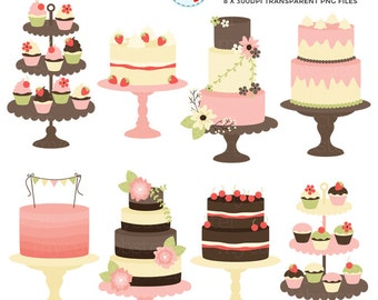 Classic Vintage Cakes Clipart Set - clip art, rustic cake, wedding cakes, tiered cake - personal use, small commercial use, instant download