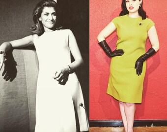 1960s Ferragamo Shift Dress Chartreuse Wool Bullocks Wilshire