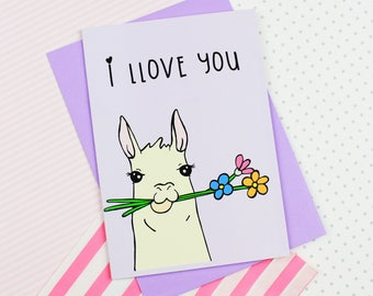 Cute Llama Greeting Card Love Card Llama Card Llama Art Valentines Card Anniversary Card Wedding Card Wedding Stationery Cute Card