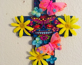OOAK DiY Day of the Dead Dia De Los Muertos Sugar Skull Cross