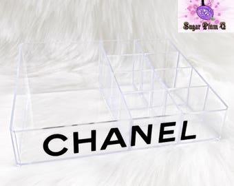 Customizablr Clear Acrylic 9 Conpartment Cosmetic Organizer | Makeup Brush Holder | Designer Inspired | Vanity Organizer