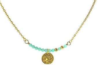Frozen aqua jade necklace, Sea foam beads antique gold coin necklace, Aqua mint gemstone gold pendant necklace, Gold pendant chain necklace