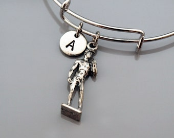 Statue of David bracelet, Statue of David Michelangelo charm, Renaissance sculpture David, Expandable bangle, Personalized bracelet