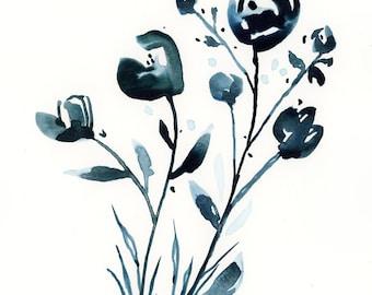 Floral Watercolor Print, Flowers, Bouquet, Fine Art, Modern Art, Ink, Garden Floral, Abstract Art, Bohemian