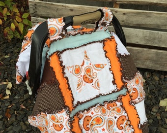 Baby Boy CAR SEAT Canopy - Orange Star Carseat Cover- Blue, Star Carseat Tent- Baby Shower Gift- Newborn Baby Present- Mini Crib Quilt