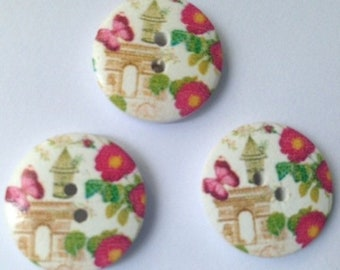 Round buttons themed Paris monument