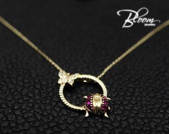 Ladybug Necklace 14K Gold Butterfly Gold Necklace Delicate Solid Gold Necklace Minimalist Gold Necklace BloomDiamonds