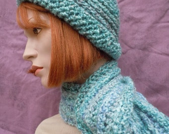Turquoise Hat and Scarf -Blue Lavender Hat and Scarf Set - Crochet Hat and Scarf