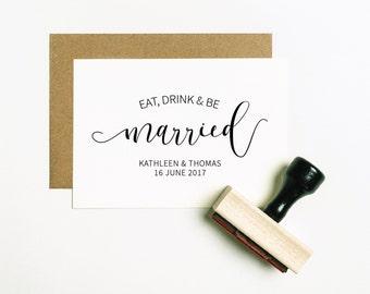 Eat, Drink & Be Married Stamp, Wedding Meal Stamp, Wedding Menu Stamp, Champagne Stamp, Wedding Favor Stamp, Eat Me Stamp (SFAVS305 - S.3)
