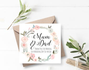 Pastel Floral Wreath Mum and Dad Wedding Thank You Card - Handmade & Personalised