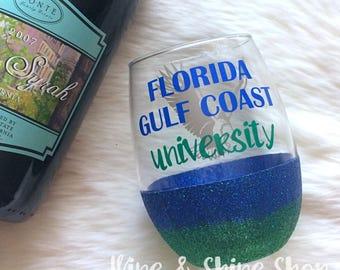 Florida Gulf Coast University Stemless Glitter Wine Glass // Glitter Glass // Stemless Wine Glass // FGCU Eagles Wine Glass // Glitter Cup