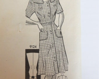40s Dress Pattern, Marian Martin 9124,  Shirtwaist Dress with Long or Short Sleeves, Size 42 Bust 42, House dress Mail Order Pattern