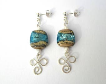 """Silver earrings collection """"Organic Celtic - water and Earth"""" lampwork beads and sterling"""