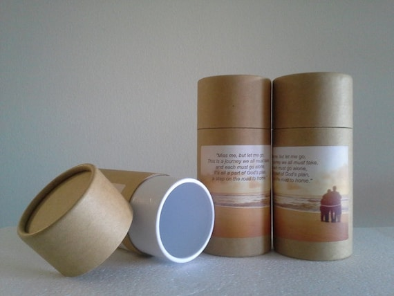 """SET OF THREE Eco-Friendly Cremation Urn Scattering Tubes w/Telescopic Lids - Natural/Biodegradable - Style """"Serenity"""""""