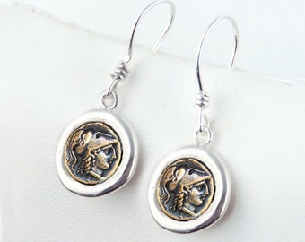 Athena -  Simple Coin Earrings - Sterling Silver Ancient Coin Earrings