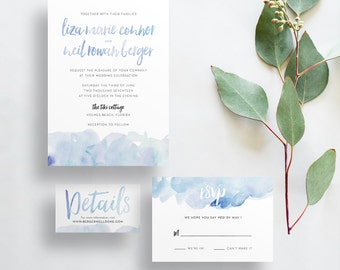 Watercolor Ombre Wedding Invites / Periwinkle Blue / Brush Lettering / Semi-Custom Wedding Invitation Suite / Print-at-Home Invitations