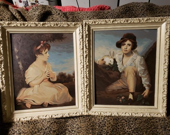"""Vintage Paint By Number Wonderfully Done Pair of Framed Oil Paintings """"A Boy With Rabbit"""" & """"Age of Innocence"""" by Craft Master!"""