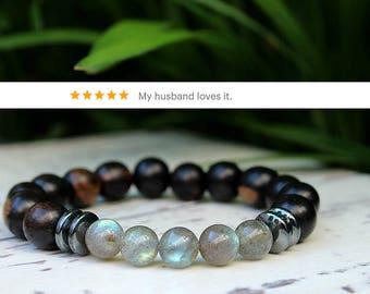 Labradorite Hematite Wood Bracelet Mens Gift Boyfriend Birthday Gift Mens Bracelet Husband Gift Boyfriend Gift