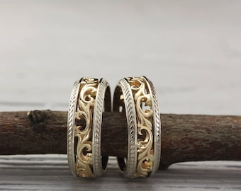 Mixed metals his and her vintage style wedding bands set, Couple unique rings, His and Her engagement ring, Matching bands, Ring his and her