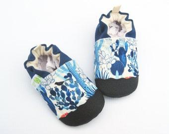 Organic Vegan Blue Cacti Garden / non-slip baby shoes / made to order / babies toddlers preschool